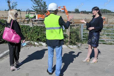 Rosie Duffield, Member of Parliament for Canterbury, Richard Lavender and Rachel Reeves, Shadow Chancellor of the Duchy of Lancaster visit the site newly purchased by the Government for use as an overspill lorry park post-Brexit.