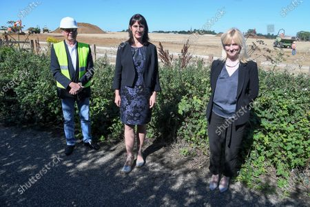 Richard Lavender, Rachel Reeves, Shadow Chancellor of the Duchy of Lancaster and Rosie Duffield, Member of Parliament for Canterbury visit the site newly purchased by the Government for use as an overspill lorry park post-Brexit.