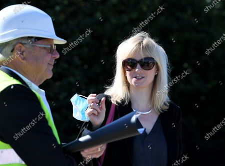 Stock Image of Richard Lavender and Rosie Duffield, Member of Parliament for Canterbury visit the site newly purchased by the Government for use as an overspill lorry park post-Brexit.