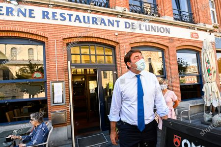 Stock Photo of Minister SMEs, Entrepreneurs, Agriculture and Social Integration Denis Ducarme pictured wearing a mouth mask during a visit of the Minister to the merchants and restaurant owners in Nivelles, Thursday 30 July 2020.