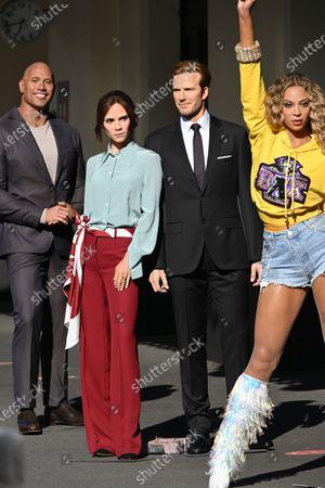 (L-R) Dwayne Johnson, Victoria and David Beckham, Beyoncé at Madame Tussauds re-opening in London