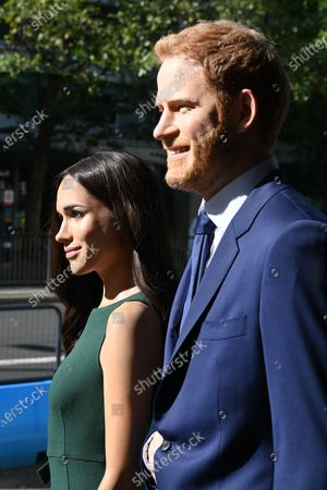 Meghan Duchess of Sussex and Prince Harry at Madame Tussauds re-opening in London