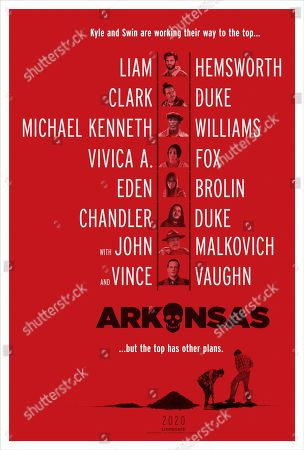 Arkansas (2020) Poster Art. Liam Hemsworth as Kyle, Clark Duke as Swin, Michael K Williams as Almond, Vivica A. Fox as Her, Eden Brolin as Johnna, Chandler Duke as Nick, John Malkovich as Bright and Vince Vaughn as Frog