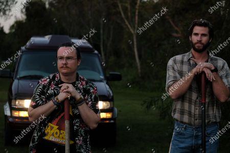 Clark Duke as Swin and Liam Hemsworth as Kyle