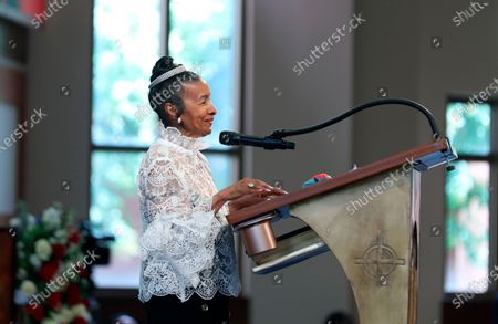 Xernona Clayton, the god mother of John Lewis' son John-Miles Lewis, addresses the funeral service for the late congressman at Ebenezer Baptist Church in Atlanta