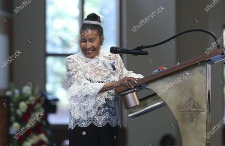 Xernona Clayton, the god mother of Rep. John Lewis' son John-Miles Lewis, addresses the funeral service for the late congressman at Ebenezer Baptist Church in Atlanta