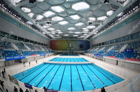 """Stock Photo of Photo taken on July 28, 2020 shows an inner view of the iconic """"Water Cube"""" swimming venue from 2008, which now has become the """"Ice Cube"""", a premier curling venue, in Beijing, capital of China."""
