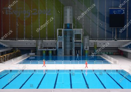 """Photo taken on July 28, 2020 shows an inner view of the iconic """"Water Cube"""" swimming venue from 2008, which now has become the """"Ice Cube"""", a premier curling venue, in Beijing, capital of China."""