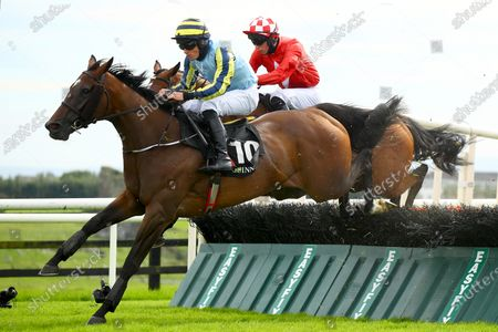 The Guinness Novice Hurdle. Simon Torrens on Guinevere in action during the race