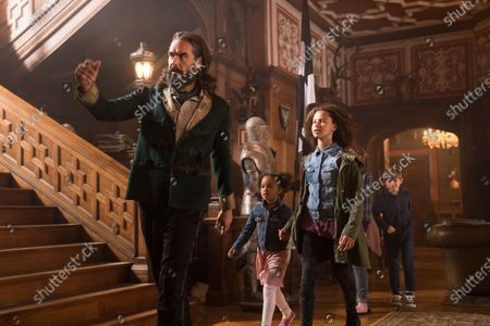 Stock Picture of Russell Brand as Tristan Trent, Ellie-Mae Siame as Maudie, Ashley Aufderheide as Smash and Billy Jenkins as Robbie