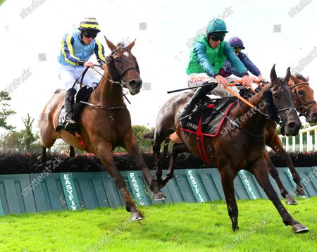 Galway GUINEVERE & Simon Torrens (left) jump the last to win the Guinness Novice Hurdle from SAINT D'OROUX & BEAR CLAWS