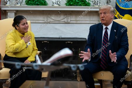 Gloria Guillen, the mother of slain Army Spc. Vanessa Guillen, meets with President Donald Trump in the Oval Office of the White House, in Washington