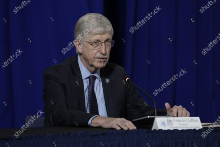 Dr. Francis Collins, Director, National Institutes of Health (NIH), participates with US President Donald J. Trump in a roundtable on donating plasma at the American Red Cross National Headquarters in Washington.