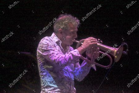 """Stock Image of Roberto Negro, Emile Parisien, Michele Raccia Trio and Paolo Fresu Quintet, Filippo Vignato at Cavea PDM on the occasion of the Festival """"Una Striscia Fonda di Terra 2020"""" in Rome. Artistic direction of the review of jazz and improvised music are Paolo Damiani and Armand Meignan. This year the artistic directors have awarded Roberto Negro with the plaque to the New Talents 2020 """"for his original compositional research""""."""
