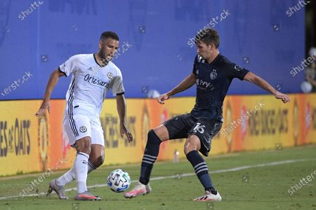 Stock Image of Philadelphia Union forward Andrew Wooten, left, and Sporting Kansas City midfielder Graham Smith (16) compete for a ball during the second half of an MLS soccer match, in Kissimmee, Fla