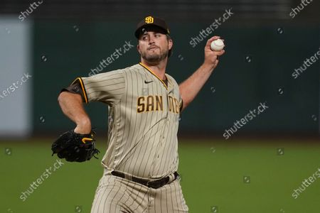 San Diego Padres pitcher Drew Pomeranz against the San Francisco Giants during a baseball game in San Francisco