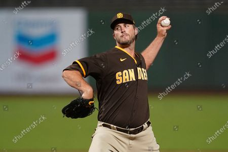 San Diego Padres' Drew Pomeranz against the San Francisco Giants during a baseball game in San Francisco