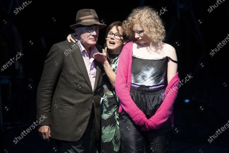 Hanns Zischler, Eva Loebau, and Luisa-Celine Gaffron perform on stage during a rehearsal of the drama 'Zdenek Adamec' in Salzburg, Austria, 30 July 2020 (issued 31 Juy 2020). Peter Handke's drama production will be staged at the Salzburg Festival, which runs from 01 to 30 August 2020.