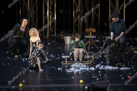 Andre Kaczmarczyk, Luisa-Celine Gaffron, Hanns Zischler, Nahuel Perez Biscayart, Eva Loebau, Christian Friedel perform on stage during a rehearsal of the drama 'Zdenek Adamec' in Salzburg, Austria, 30 July 2020 (issued 31 Juy 2020). Peter Handke's drama production will be staged at the Salzburg Festival, which runs from 01 to 30 August 2020.