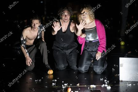 Nahuel Perez Biscayart, Andre Kaczmarczyk and Luisa-Celine Gaffron perform on stage during a rehearsal of the drama 'Zdenek Adamec' in Salzburg, Austria, 30 July 2020 (issued 31 Juy 2020). Peter Handke's drama production will be staged at the Salzburg Festival, which runs from 01 to 30 August 2020.