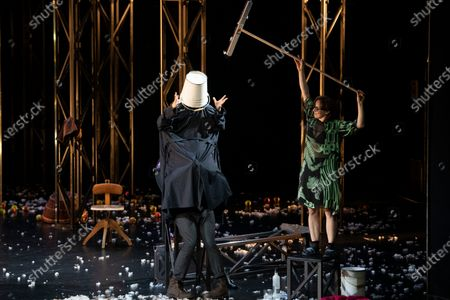 Nahuel Perez Biscayart (L) and Eva Loebau (R) perform on stage during a rehearsal of the drama 'Zdenek Adamec' in Salzburg, Austria, 30 July 2020 (issued 31 Juy 2020). Peter Handke's drama production will be staged at the Salzburg Festival, which runs from 01 to 30 August 2020.