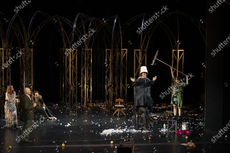 Sophie Semin, Hanns Zischler, Andre Kaczmarczyk, Nahuel Perez Biscayart, and Eva Loebau perform on stage during a rehearsal of the drama 'Zdenek Adamec' in Salzburg, Austria, 30 July 2020 (issued 31 Juy 2020). Peter Handke's drama production will be staged at the Salzburg Festival, which runs from 01 to 30 August 2020.
