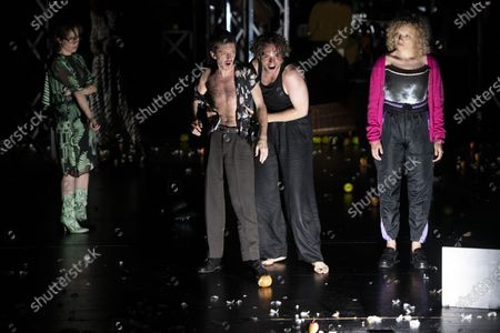 Eva Loebau, Nahuel Perez Biscayart, Andre Kaczmarczyk and Luisa-Celine Gaffron perform on stage during a rehearsal of the drama 'Zdenek Adamec' in Salzburg, Austria, 30 July 2020 (issued 31 Juy 2020). Peter Handke's drama production will be staged at the Salzburg Festival, which runs from 01 to 30 August 2020.