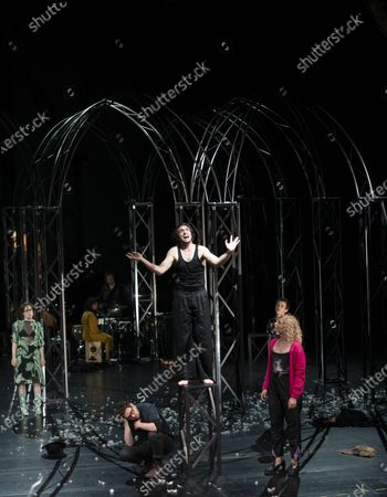 Stock Image of Eva Loebau, Christian Friedel, Andre Kaczmarczyk and Luisa-Celine Gaffron perform on stage during a rehearsal of the drama 'Zdenek Adamec' in Salzburg, Austria, 30 July 2020 (issued 31 Juy 2020). Peter Handke's drama production will be staged at the Salzburg Festival, which runs from 01 to 30 August 2020.