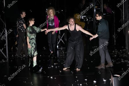 Nahuel Perez Biscayart, Eva Loebau, Luisa-Celine Gaffron, Andre Kaczmarczyk and Christian Friedel perform on stage during a rehearsal of the drama 'Zdenek Adamec' in Salzburg, Austria, 30 July 2020 (issued 31 Juy 2020). Peter Handke's drama production will be staged at the Salzburg Festival, which runs from 01 to 30 August 2020.