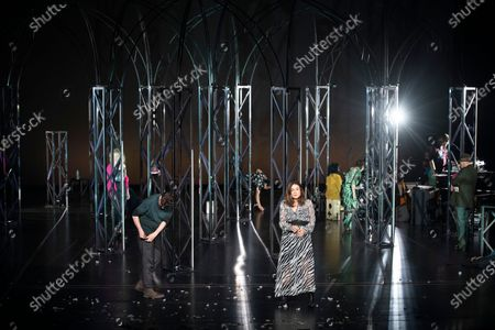 Stock Photo of (Front, L-R) Christian Friedel and Sophie Semin perform on stage during a rehearsal of the drama 'Zdenek Adamec' in Salzburg, Austria, 30 July 2020 (issued 31 Juy 2020). Peter Handke's drama production will be staged at the Salzburg Festival, which runs from 01 to 30 August 2020.