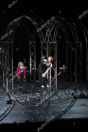 Luisa-Celine Gaffron, Andre Kaczmarczyk and Nahuel Perez Biscayart perform on stage during a rehearsal of the drama 'Zdenek Adamec' in Salzburg, Austria, 30 July 2020 (issued 31 Juy 2020). Peter Handke's drama production will be staged at the Salzburg Festival, which runs from 01 to 30 August 2020.