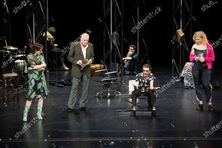 Eva Loebau, Hanns Zischler, Christian Friedel, Nahuel Perez Biscayart and Luisa-Celine Gaffron perform on stage during a rehearsal of the drama 'Zdenek Adamec' in Salzburg, Austria, 30 July 2020 (issued 31 Juy 2020). Peter Handke's drama production will be staged at the Salzburg Festival, which runs from 01 to 30 August 2020.