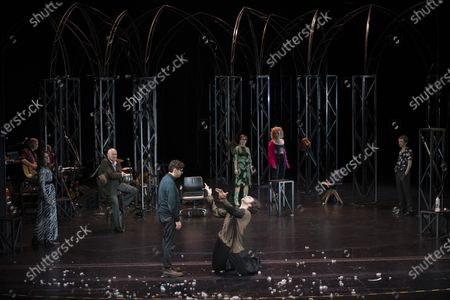 (Front, L-R) Christian Friedel and Andre Kaczmarczyk perform on stage during a rehearsal of the drama 'Zdenek Adamec' in Salzburg, Austria, 30 July 2020 (issued 31 Juy 2020). Peter Handke's drama production will be staged at the Salzburg Festival, which runs from 01 to 30 August 2020.