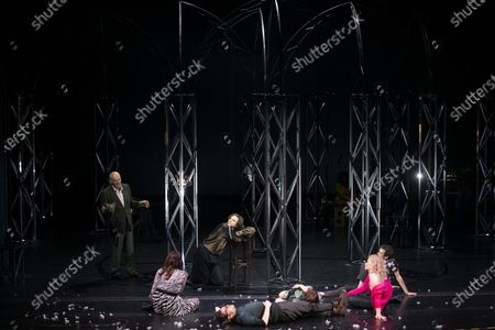 Stock Picture of Hanns Zischler, Sophie Semin, Andre Kaczmarczyk, Christian Friedel, Eva Loebau, Luisa-Celine Gaffron and Nahuel Perez Biscayart perform on stage during a rehearsal of the drama 'Zdenek Adamec' in Salzburg, Austria, 30 July 2020 (issued 31 Juy 2020). Peter Handke's drama production will be staged at the Salzburg Festival, which runs from 01 to 30 August 2020.
