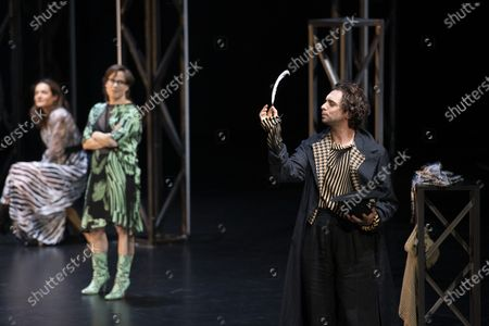 Stock Photo of Sophie Semin, Eva Loebau, and Andre Kaczmarczyk perform on stage during a rehearsal of the drama 'Zdenek Adamec' in Salzburg, Austria, 30 July 2020 (issued 31 Juy 2020). Peter Handke's drama production will be staged at the Salzburg Festival, which runs from 01 to 30 August 2020.