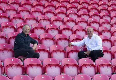 Stock Image of Scarlets Non-Executive Director and Global Ambassador Sean Fitzpatrick and Scarlets Chairman Simon Muderack.