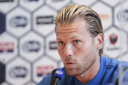 Stock Photo of Club's Ruud Vormer pictured during a press conference of soccer team Club Brugge KV, Friday 31 July 2020 in Brussels, in preparation of tomorrow's final of the 'Croky Cup' Belgian cup against Antwerp FC.