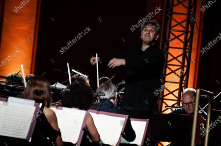 """The British conductor, Sir Antonio Pappano, conducts the National Academy of Santa Cecilia Orchestra, for the fifth edition of """"Un Estate da Re"""" (A King's Summer), at the Aperia of the Royal Bourbon Palace of Caserta"""