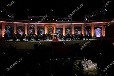 """Stock Image of The British conductor, Sir Antonio Pappano, conducts the National Academy of Santa Cecilia Orchestra, for the fifth edition of """"Un Estate da Re"""" (A King's Summer), at the Aperia of the Royal Bourbon Palace of Caserta"""