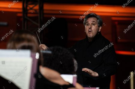 """Stock Picture of The British conductor, Sir Antonio Pappano, conducts the National Academy of Santa Cecilia Orchestra, for the fifth edition of """"Un Estate da Re"""" (A King's Summer), at the Aperia of the Royal Bourbon Palace of Caserta"""