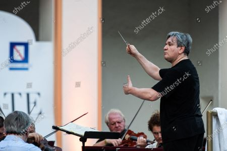 """Stock Photo of The British conductor, Sir Antonio Pappano, conducts the National Academy of Santa Cecilia Orchestra, for the fifth edition of """"Un Estate da Re"""" (A King's Summer), at the Aperia of the Royal Bourbon Palace of Caserta"""