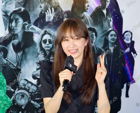 """Stock Image of Hani (EXID) : South Korean singer and actress Hani (EXID) or Ahn Hee-Yeon attends a press conference for """"White Crow"""", an episode of drama """"SF8"""" in Seoul, South Korea. Cinematic drama SF8 is the Korean equivalent of the """"Black Mirror"""" anthology series. It is comprised of eight episodes and unravels philosophical questions throughout each episode's futurist premise including the presence of virtual reality and artificial intelligence. The anthology piece was created by eight different directors and is a crossover project among the Directors Guild of Korea, MBC, Wavve and Soo Film."""
