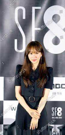 """Stock Picture of Hani (EXID) : South Korean singer and actress Hani (EXID) or Ahn Hee-Yeon attends a press conference for """"White Crow"""", an episode of drama """"SF8"""" in Seoul, South Korea. Cinematic drama SF8 is the Korean equivalent of the """"Black Mirror"""" anthology series. It is comprised of eight episodes and unravels philosophical questions throughout each episode's futurist premise including the presence of virtual reality and artificial intelligence. The anthology piece was created by eight different directors and is a crossover project among the Directors Guild of Korea, MBC, Wavve and Soo Film."""