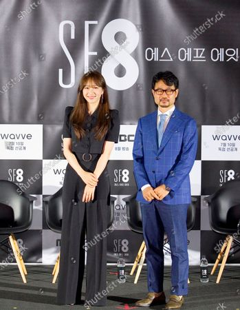 """Hani (EXID) and Jang Cheol-Soo : (L-R) South Korean singer and actress Hani (EXID) or Ahn Hee-Yeon poses with director Jang Cheol-Soo during a press conference for """"White Crow"""", an episode of drama """"SF8"""" in Seoul, South Korea. Cinematic drama SF8 is the Korean equivalent of the """"Black Mirror"""" anthology series. It is comprised of eight episodes and unravels philosophical questions throughout each episode's futurist premise including the presence of virtual reality and artificial intelligence. The anthology piece was created by eight different directors and is a crossover project among the Directors Guild of Korea, MBC, Wavve and Soo Film."""