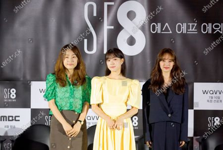 """Lee Yoon-Jung, Choi Sung-Eun and Kim Bo-Ra : (L-R) South Korean director Lee Yoon-Jung poses with actresses Choi Sung-Eun and Kim Bo-Ra during a press conference for """"Joan's Galaxy"""", an episode of drama """"SF8"""" in Seoul, South Korea. Cinematic drama SF8 is the Korean equivalent of the """"Black Mirror"""" anthology series. It is comprised of eight episodes and unravels philosophical questions throughout each episode's futurist premise including the presence of virtual reality and artificial intelligence. The anthology piece was created by eight different directors and is a crossover project among the Directors Guild of Korea, MBC, Wavve and Soo Film."""