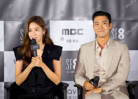 """Stock Photo of Uee (After School) and Choi Si-Won (Super Junior) : (L-R) South Korean singer and actress Uee and singer and actor Choi Si-Won attend a press conference for """"Love Virtually"""", an episode of drama """"SF8"""" in Seoul, South Korea. Cinematic drama SF8 is the Korean equivalent of the """"Black Mirror"""" anthology series. It is comprised of eight episodes and unravels philosophical questions throughout each episode's futurist premise including the presence of virtual reality and artificial intelligence. The anthology piece was created by eight different directors and is a crossover project among the Directors Guild of Korea, MBC, Wavve and Soo Film."""