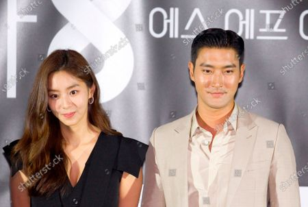"""Stock Image of Uee (After School) and Choi Si-Won (Super Junior) : (L-R) South Korean singer and actress Uee and singer and actor Choi Si-Won attend a press conference for """"Love Virtually"""", an episode of drama """"SF8"""" in Seoul, South Korea. Cinematic drama SF8 is the Korean equivalent of the """"Black Mirror"""" anthology series. It is comprised of eight episodes and unravels philosophical questions throughout each episode's futurist premise including the presence of virtual reality and artificial intelligence. The anthology piece was created by eight different directors and is a crossover project among the Directors Guild of Korea, MBC, Wavve and Soo Film."""