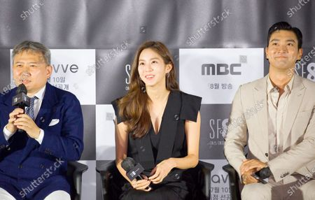 """Stock Picture of Oh Ki-Hwan, Uee (After School) and Choi Si-Won (Super Junior) : (L-R) South Korean director Oh Ki-Hwan, singer and actress Uee and singer and actor Choi Si-Won attend a press conference for """"Love Virtually"""", an episode of drama """"SF8"""" in Seoul, South Korea. Cinematic drama SF8 is the Korean equivalent of the """"Black Mirror"""" anthology series. It is comprised of eight episodes and unravels philosophical questions throughout each episode's futurist premise including the presence of virtual reality and artificial intelligence. The anthology piece was created by eight different directors and is a crossover project among the Directors Guild of Korea, MBC, Wavve and Soo Film."""