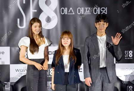 """Lee Si-Young, Han Ka-Ram and Ha Jun : (L-R) South Korean actress Lee Si-Young poses with director Han Ka-Ram and actor Ha Jun during a press conference for """"Blink"""", an episode of drama """"SF8"""" in Seoul, South Korea. Cinematic drama SF8 is the Korean equivalent of the """"Black Mirror"""" anthology series. It is comprised of eight episodes and unravels philosophical questions throughout each episode's futurist premise including the presence of virtual reality and artificial intelligence. The anthology piece was created by eight different directors and is a crossover project among the Directors Guild of Korea, MBC, Wavve and Soo Film."""