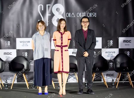 """Roh Deok, Lee Yeon-Hee and Lee Dong-Hwi : (L-R) South Korean director Roh Deok, actress Lee Yeon-Hee and actor Lee Dong-Hwi pose during a press conference for """"Manxin"""", an episode of drama """"SF8"""" in Seoul, South Korea. Cinematic drama SF8 is the Korean equivalent of the """"Black Mirror"""" anthology series. It is comprised of eight episodes and unravels philosophical questions throughout each episode's futurist premise including the presence of virtual reality and artificial intelligence. The anthology piece was created by eight different directors and is a crossover project among the Directors Guild of Korea, MBC, Wavve and Soo Film."""